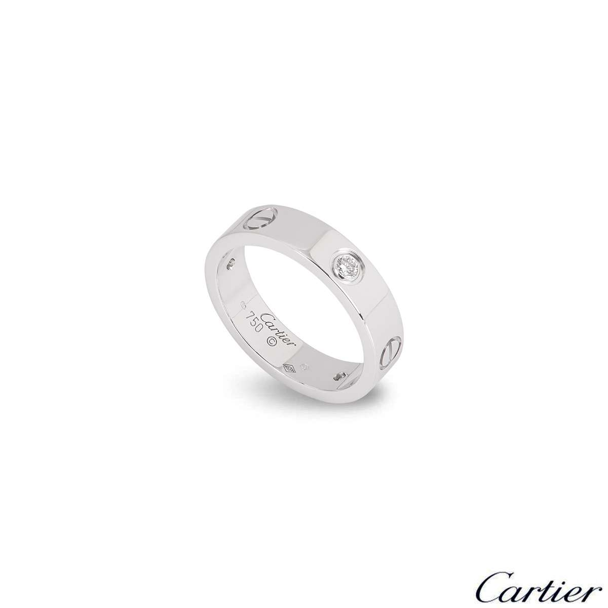 Cartier White Gold Half Diamond Love Ring Size 54 B4032500